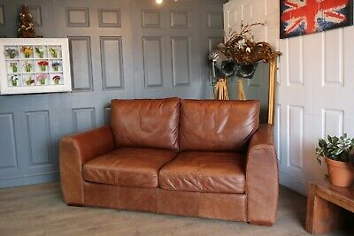 £990 • Buy Halo Cigar Antiqued Brown Aniline House Of Frazer Leather Sofa And Armchair