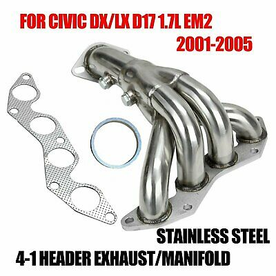 $50.39 • Buy Stainless Steel 4-1 Header For 01-05 Civic Dx/lx D17 1.7l Em2 Exhaust/manifold