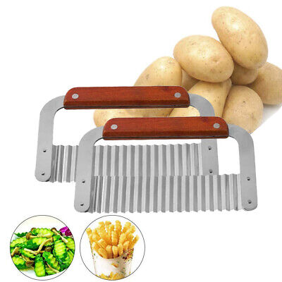£4.89 • Buy Stainless Steel Potato Chip Salad Vegetable Crinkle Cutter Kitchen Cutting Tool