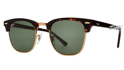 AU99.99 • Buy Ray-Ban Clubmaster Sunglasses Tortoise & Gold Frames, Green Lenses RB 3016 51 Mm
