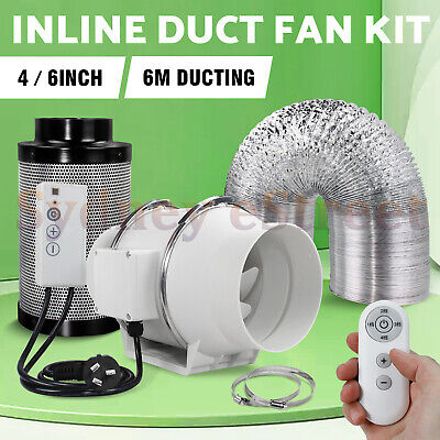 AU209 • Buy Hydroponics Grow Tent 4  6  Inline Exhaust Filter Duct Fan Kit W/Remote Control
