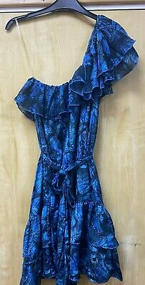 £9.99 • Buy House Of Dereon Beyonce Blue Butterfly Print One Shoulder Ruffle Mini Dress-xl