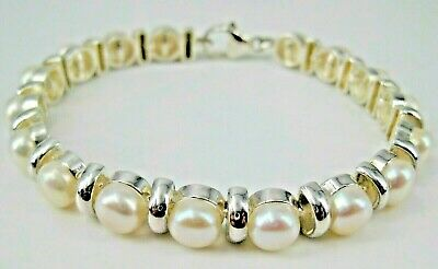 $59.97 • Buy Sterling Bracelet Cultured White 6mm Mabe Pearl Rhodium Plated Lobster Claw 7