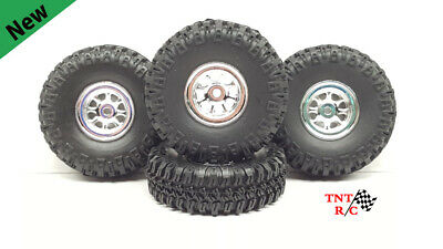 £16.81 • Buy 1/24 & 1/18 Scale R/c Rock Crawler Grabber Tires & Chrome Wheels With Free Ship!
