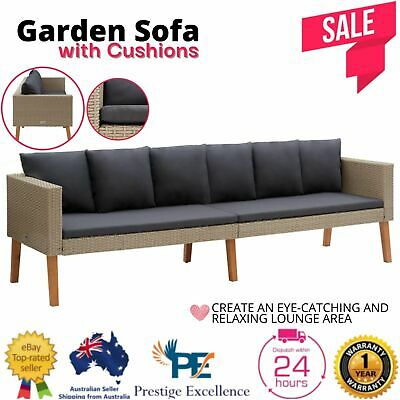 AU315.97 • Buy Garden Sofa Outdoor Furniture Lounge PE Wicker Rattan Setting Chair Couch Beige