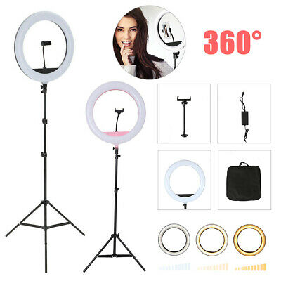 AU37.99 • Buy 18 5500K Dimmable LED Ring Light Diffuser Stand Mirror Make Up Studio Video