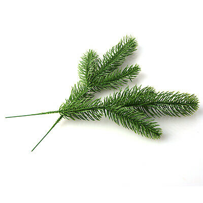 50Pcs Artificial Flower Fake Pine Tree Branches Green Plant Christmas Tree Decor • 9.29£
