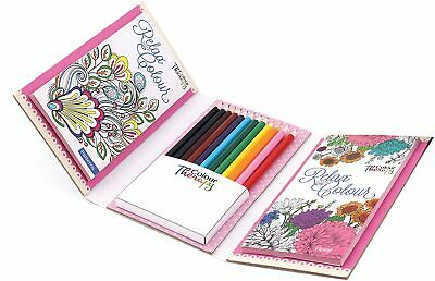 £3.99 • Buy Travel Set Adult Colour Therapy Colouring Book & Pencils Children 60 Designs