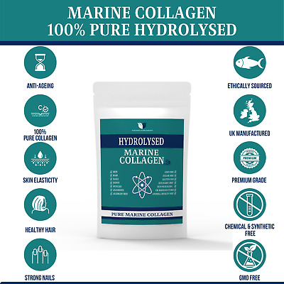 100% PURE MARINE COLLAGEN HYDROLYISED 2000mg ANTI-AGEING MAX STRENGTH CAPSULES • 15.45£