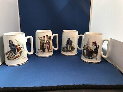 $ CDN29.98 • Buy 1985 Norman Rockwell Nautical Themed Coffee Cups Mugs Gold Trim Vintage Lot Of 4