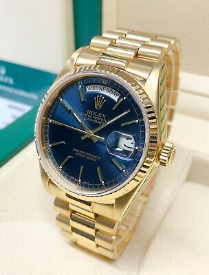 £13995 • Buy Rolex Day Date 18038 Yellow Gold 36mm Blue Dial SERVICED BY ROLEX