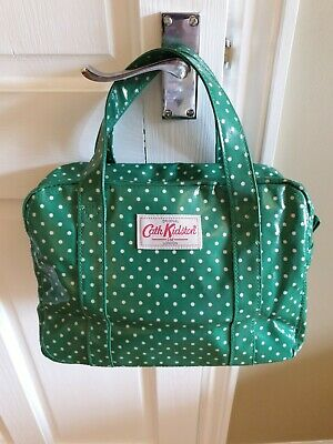 £20 • Buy CATH KIDSTON Handbag Green/White Spotty Oilcloth Tote Travel Bag With 2 Handles