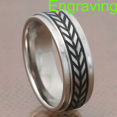 $20.99 • Buy 7mm Titanium Step Edges Band Woven Carved Men's Infinity Wedding Engagement Ring