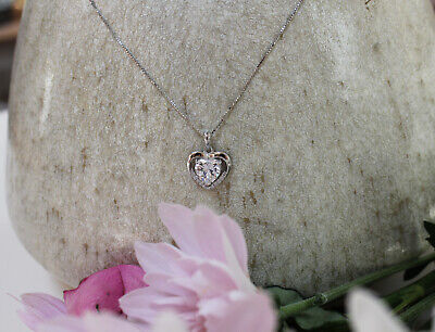 £7.99 • Buy Women's 925 Silver Heart Pendant Necklace, Crystal Jewellery + Free Ring