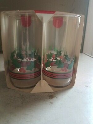 $ CDN12.08 • Buy Vintage 1989 Set Of 4 Christmas Glasses W/Stripes And Holly