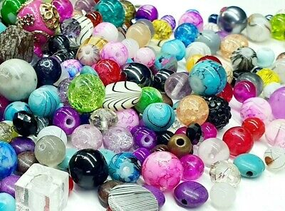 £3.10 • Buy X100 Assorted Bead Mix Glass Metal Natural Rock Jewellery Mixed Beads 6mm-10mm