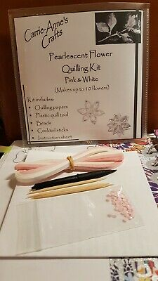 £3.99 • Buy Pearlescent Flower Quilling Kit Pink & White Crafts/Cardmaking/Scrapbooking