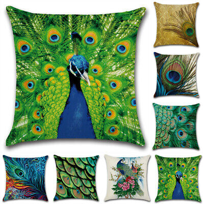 £4.19 • Buy UK New 18  Peacock Feather Fancy Cushion Cover Throw Pillow Case Sofa Home Decor