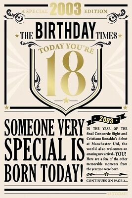 £1.85 • Buy The Year You Were Born 18th Birthday 2003 Male Gold Foil Luxury Greetings Card