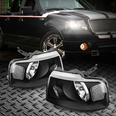 $78.99 • Buy For 04-08 Ford F150 Pickup Black Housing Headlight Clear Side Corner Lamps Pair