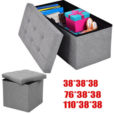 Large Grey Ottoman Foldable Storage Box Linen Suede Foot Stool Seat 2 Sizes New • 19.99£