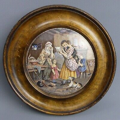 £30 • Buy Victorian Framed Coloured Prattware Pot Lid A Letter From The Diggings C.1870