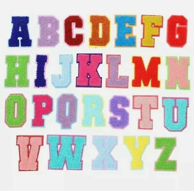 £0.99 • Buy Multi Colour Chenille Letter Patch Patches Iron On Towel Alphabet Embroidery