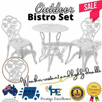 AU261.97 • Buy 3Pcs Patio Bistro Garden Outdoor Furniture Table Chairs Setting Dining Set White