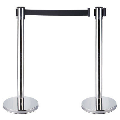 £31.80 • Buy 2pcs Crowd Queue Control Barrier Posts Stainless Steel With 2M Retractable Belt