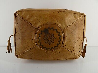 Vintage Boho African Moroccan Leather Pouffe Rectangle H20 • 35£