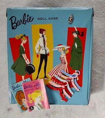 $ CDN42.32 • Buy Vintage 1961 Mattel Barbie Doll Case Trunk Fashion Booklets, Hangers, 1963 Charm