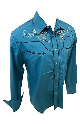 $34.99 • Buy Men RODEO WESTERN TEAL BLACK STITCH Long Sleeve Woven SNAP UP Shirt Cowboy 525