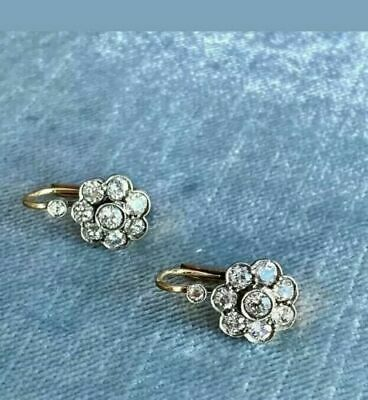 £63.19 • Buy Antique 2Ct Round Cut Diamond Cluster Drop Wedding Earrings14K White Gold Finish