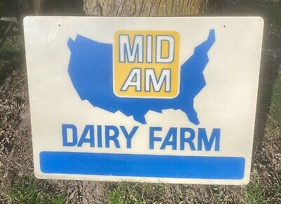 $179 • Buy NEW OLD STOCK Mid Am Dairy Farm Sign Milk Cow Feed Seed Double Sided