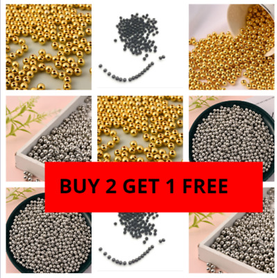 £2.29 • Buy 500 Round Spacer Beads 4mm 6mm 8mm  Gold Silver Black Plated Beads DIY Jewellery
