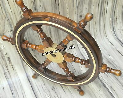 £49.50 • Buy 24 Brass Wooden Nautical Ship Steering Wheel Pirate Décor Wood Fishing Wall Boat