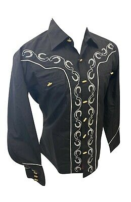$27.99 • Buy Men RODEO WESTERN COUNTRY BLACK WHITE STITCH TRIBAL BUTTON UP Shirt Cowboy 05500