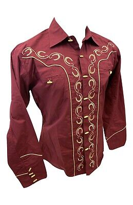 $27.99 • Buy Men RODEO WESTERN COUNTRY BURGUNDY STITCH TRIBAL BUTTON UP Shirt Cowboy 05500