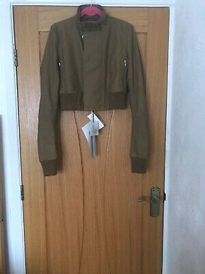 New Rick Owens Mustard Cropped Leather Jacket IT 46 (UK 14) Small Fit  • 650£