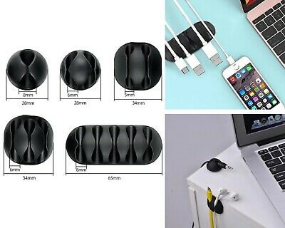 Cable Holder Cord Clip Wire Phone USB Charger Office Desk Organiser Wire Black • 2.19£