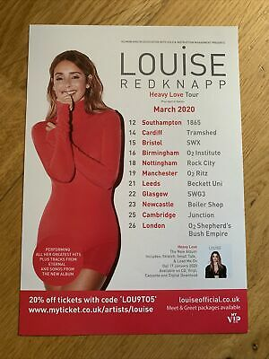 £4.99 • Buy Louise Redknapp - Heavy Love Tour March  2020 A5 Double Sided Flyer