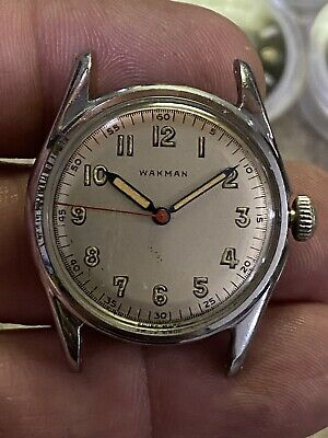 $495 • Buy Wakman Military Watch W Dust Cover Red Sweep
