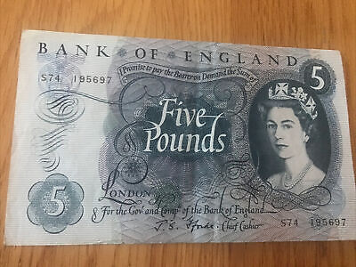Bank Of England Old Five Pound Fforde Bank Note   S74  195697  IN GOOD CONDITION • 7£