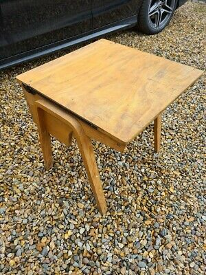 £30 • Buy Vintage Wooden School Desk With Lift Up Hinged Lids And Wooden Legs