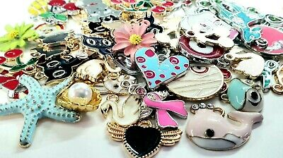 10 Assorted Enamel Charms Jewellery Making Charm Mix Enamel Coated Gold Silver • 2.99£