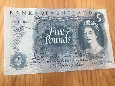 Bank Of England Old Five Pound Fforde Bank Note   Z61  056894  IN GOOD CONDITION • 8£