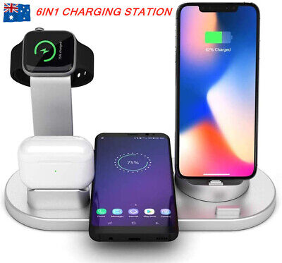 AU20.98 • Buy 6in1 Qi Wireless Charger Fast Charging Dock Stand For Airpods Apple Watch IPhone