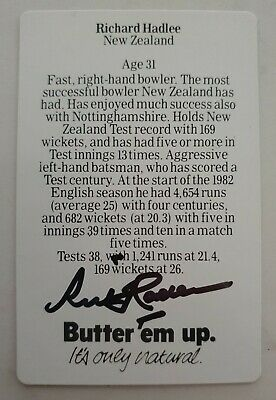 AU12 • Buy Richard Hadlee Cricket Signed In Person Butter Em Up Card  Buy Genuine