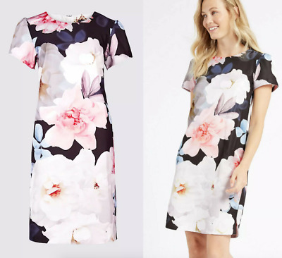 £18.99 • Buy MARKS AND SPENCER Limited Blossom Print Shift Tunic Dress In Multi Sizes 8 To 22