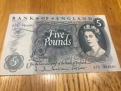Bank Of England Old Five Pound Hollom Bank Note  A72  954261   IN GOOD CONDITION • 9.38£